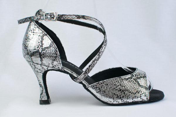 Sarah - Ladies' Silver Latin Dance Shoes - Kit'n'Heels