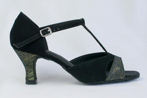 "Laura - Black Nubuck and black and gold fabric latin dance shoe. Narrow Fit 2.2"" Heel"