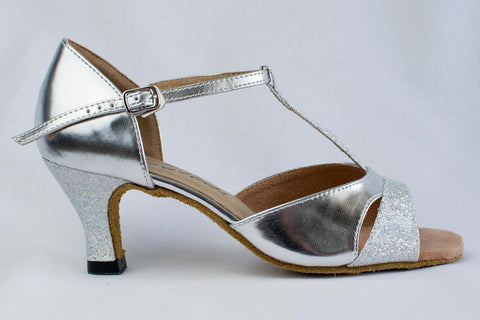 Grace - Ladies' Silver Latin Dance Shoe - Kit'n'Heels
