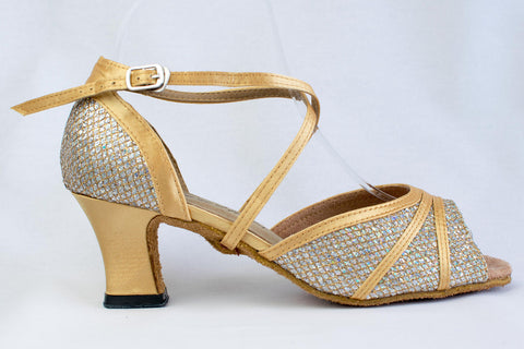 Tegwen - Ladies Rainbow Sparkle and Gold Satin Wide Fitting Latin Dance Shoes - Kit'n'Heels