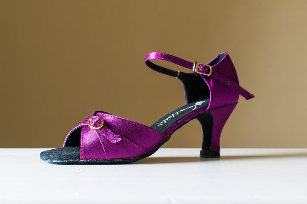 Christine - purple satin open toe adjustable latin ladies' dance shoe