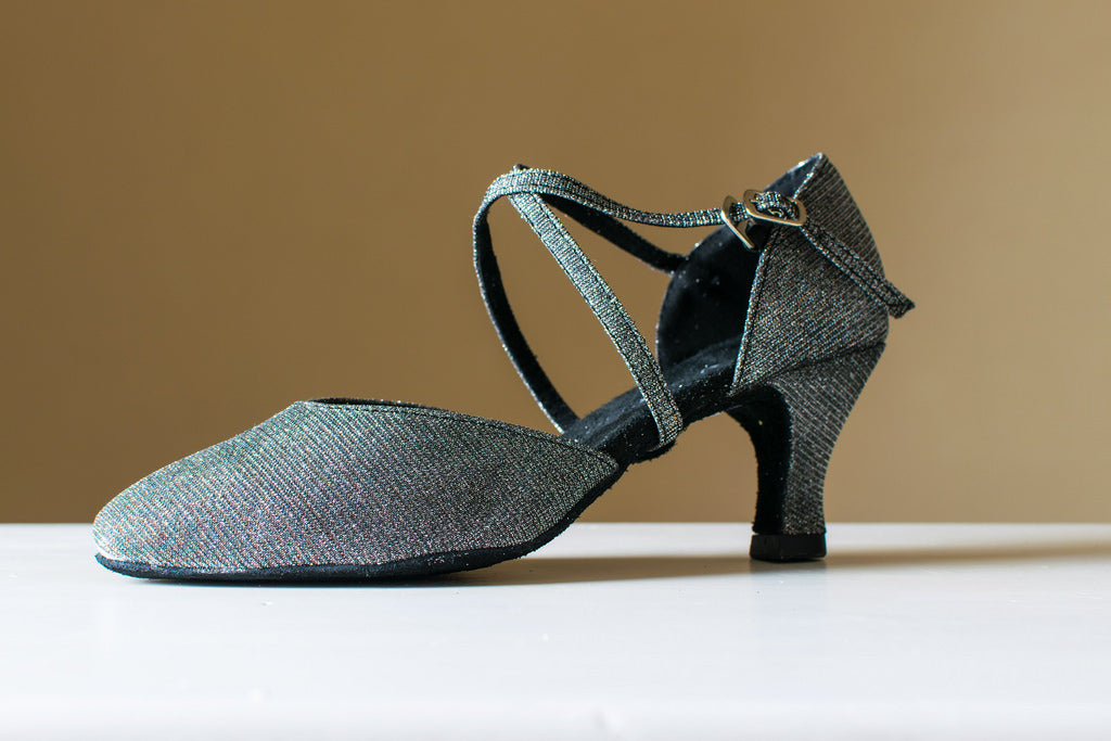 Pearl - Sparkly Pewter Fabric Closed Toe Ladies Ballroom Dance Shoe - Kit'n'Heels