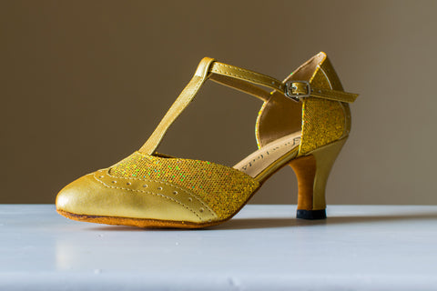 Annabel - Gold Leatherette and Sparkle T-Bar Ladies Ballroom Dance Shoe - Kit'n'Heels