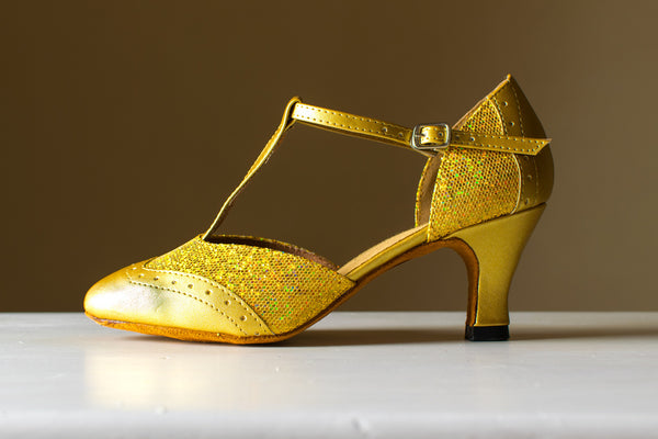 Annabel - Gold Leatherette and Sparkle T-Bar Ladies Ballroom Dance Shoe