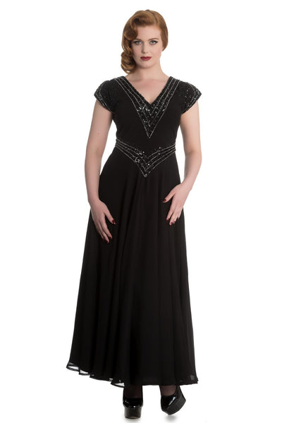 Hell Bunny Myrna Black Sequinned and Beaded Evening Dress - Vintage inspired 1920's style