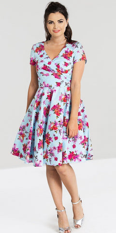 Alyssa Light Blue Floral Swing Dress