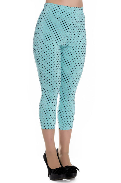 Hell Bunny Kay Capri Pants - Aqua and Black Dots