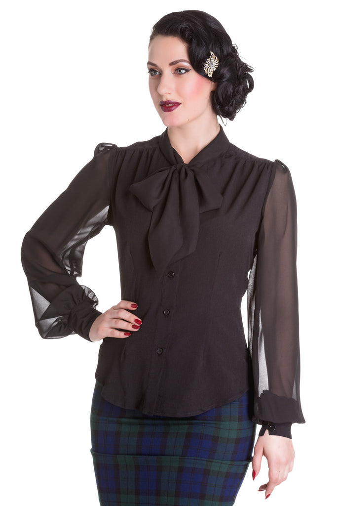 Kathleen - Vintage 1940/50's Style Pussy Bow Blouse - Black - Hell Bunny