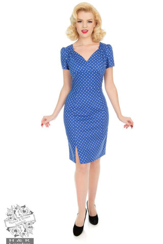 Hearts and Roses Amelia Polka Dot Wiggle Dress in Blue - Kit'n'Heels