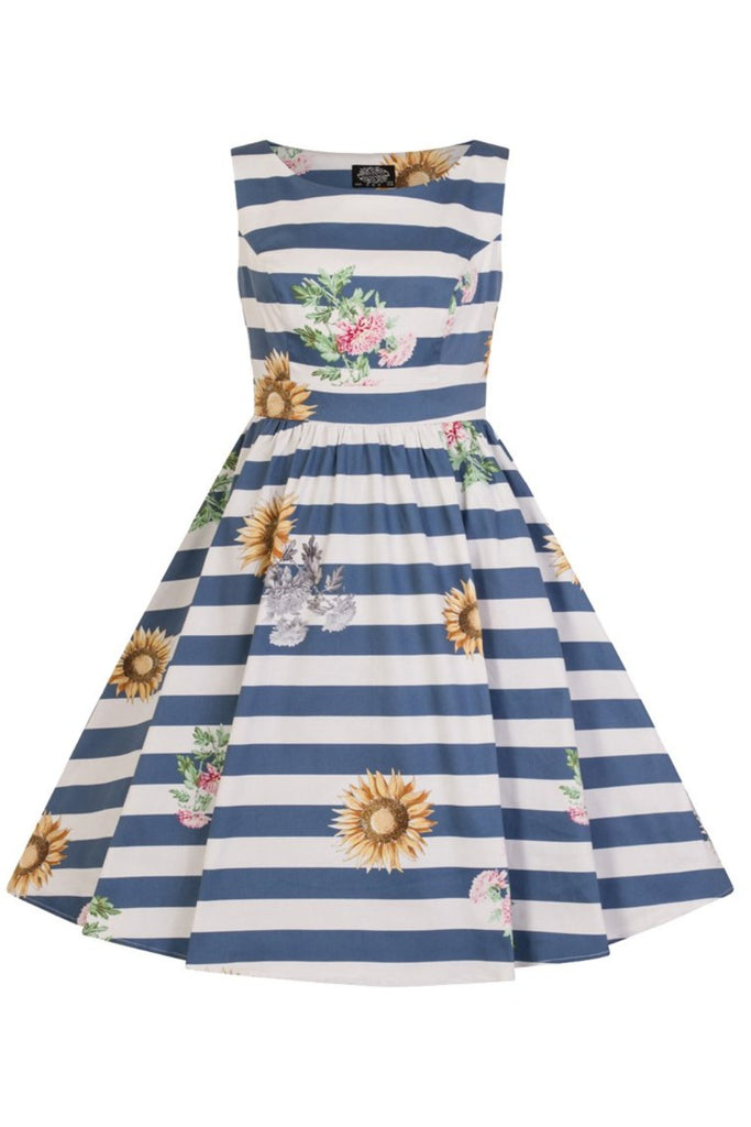 Hearts and Roses Blue Skyscraper Sunflower Little Girl's Dress - Kit'n'Heels