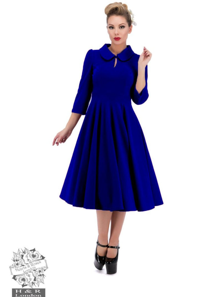 Hearts and Roses Velvet Tea Dress in Royal Blue