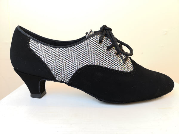 Brooklyn - Wide Fitting Ladies' Black and Silver Lace-up Dance Shoe - Kit'n'Heels