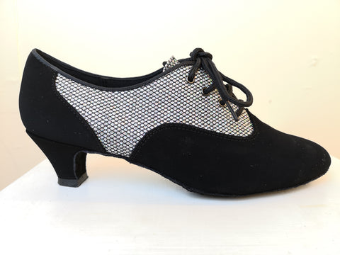 7d0ce4998c79 Brooklyn - Wide Fitting Ladies  Black and Silver Lace-up Dance Shoe