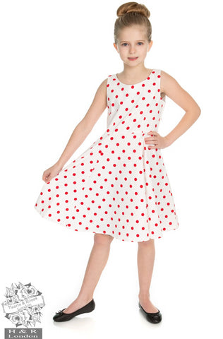 Cindy - Little Girl's White with Red Polka Dots Swing Dress