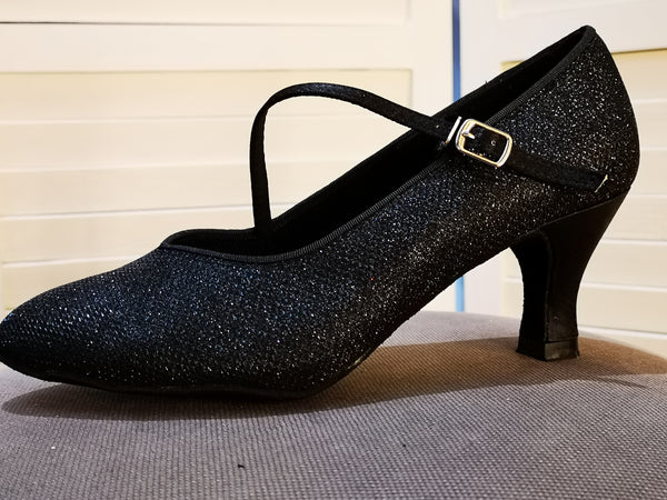 "Elizabeth - Jet Black Sparkly Ladies' Court Dance Shoe with Diagonal Strap and 2.5"" Heel - Kit'n'Heels"