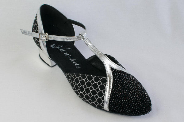 Hannah - Black and Silver Cuban Heel Ladies Ballroom Dance Shoe - Narrow Fitting