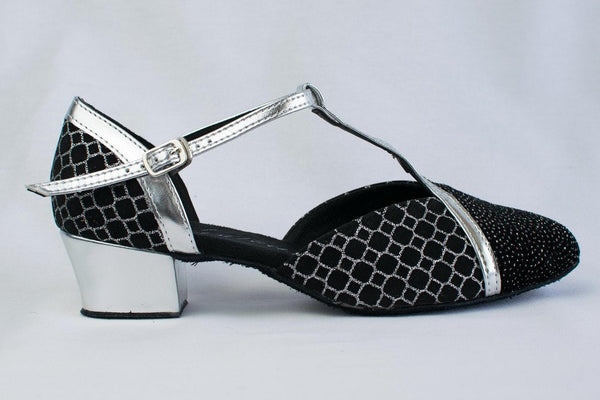 Hannah - Black and Silver Cuban Heel Ladies Ballroom Dance Shoe - Narrow Fitting - Kit'n'Heels