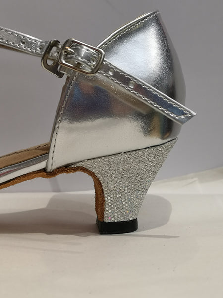 "Grace - Ladies' Silver Latin Dance Shoe with a 1.75"" heel"