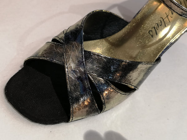 "Eleanor - black and gold, ladies' latin dance shoes with a 2.5"" heel"