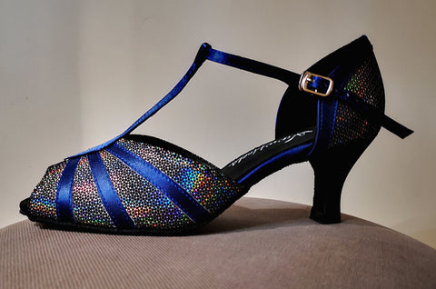 "Gabriella - Navy Satin and Black/Silver Sparkle Ladies Latin Dance Shoes with 2.5"" Heel - Kit'n'Heels"
