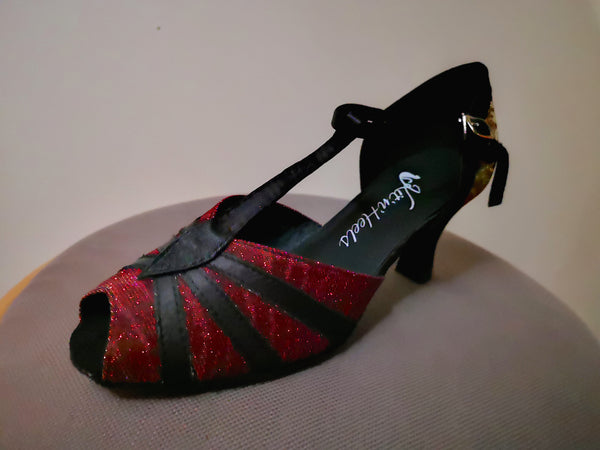 "Carla - Black and Sparkly Red Ladies' Open Toe Latin Dance Shoe with 2.5"" Heel - Kit'n'Heels"