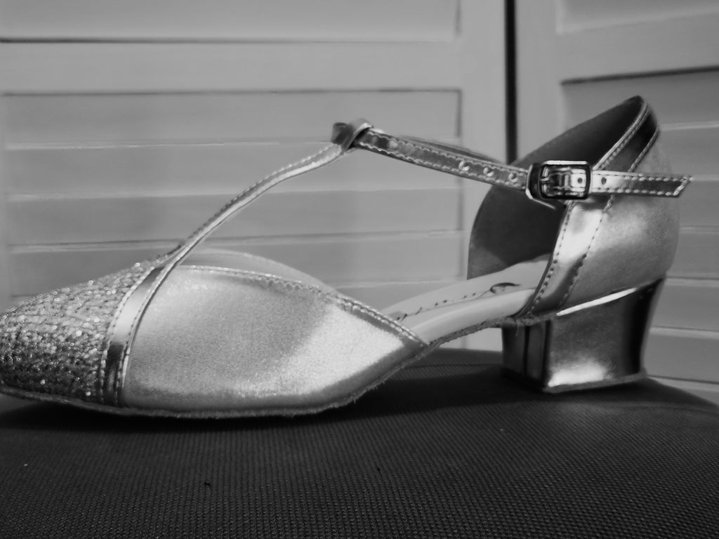 Judith - Silver Ladies' Closed Toe Dance Shoe with Cuban Heel