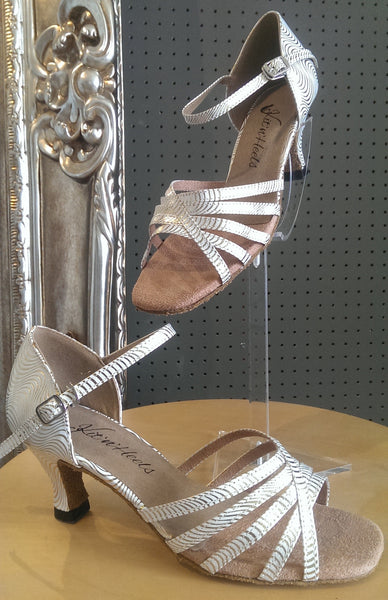 Michele - Ladies White and Gold Latin Dance Shoes