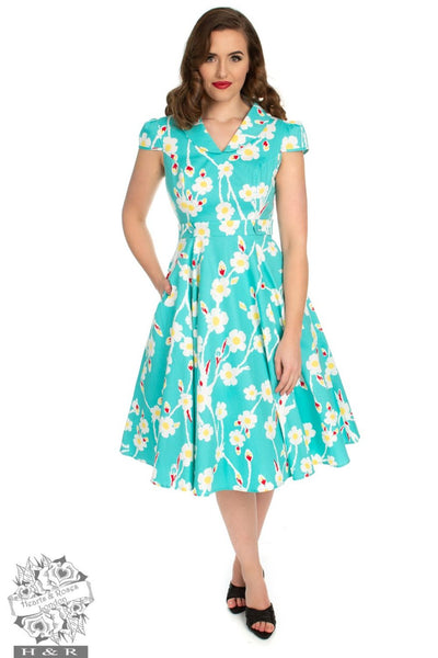 Hearts and Roses Nancy 50's Floral Swing Dress