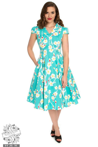 f39107d4627e03 Hearts and Roses Nancy 50's Floral Swing Dress ...
