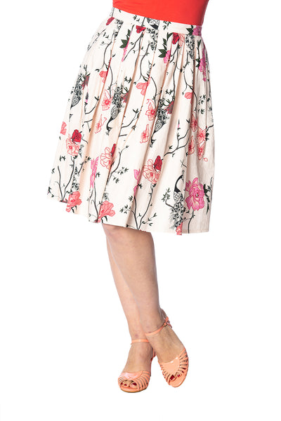 Peacock Pleated Skirt in Cream - Kit'n'Heels
