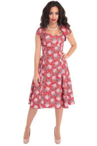 Regina Mulled Floral Doll Dress - Vintage inspired 1950's style