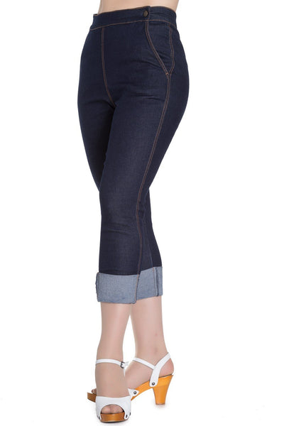 Hell Bunny Ronnie Denim Capri Pants
