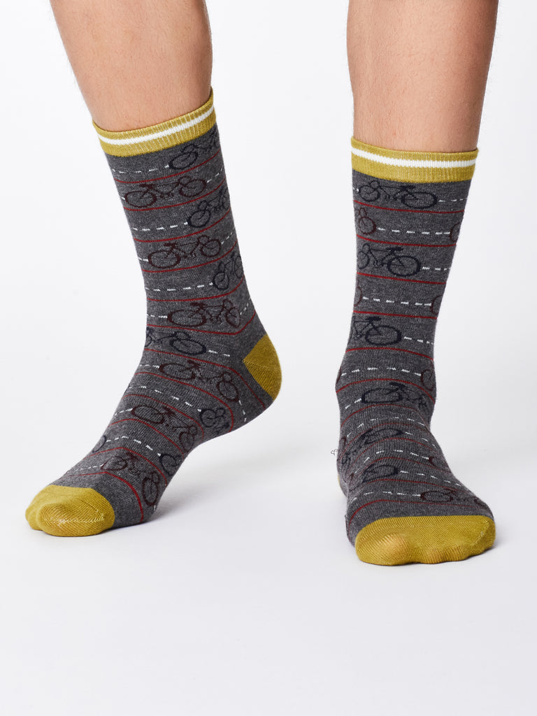 Men's Bamboo Socks - Mid Grey Marl- Cycle Print