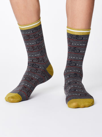 Men's Bamboo Socks - Mid Grey Marl- Cycle Print - Kit'n'Heels