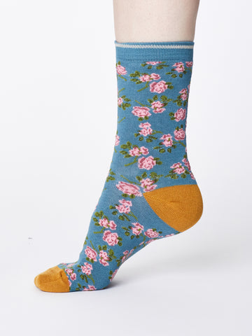 Ladies Bamboo Socks -River Blue-Cottage Print - Kit'n'Heels