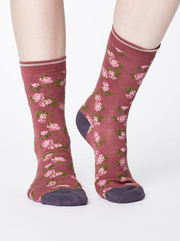 Ladies-Bamboo Socks - Rose Pink -Cottage Print - Kit'n'Heels