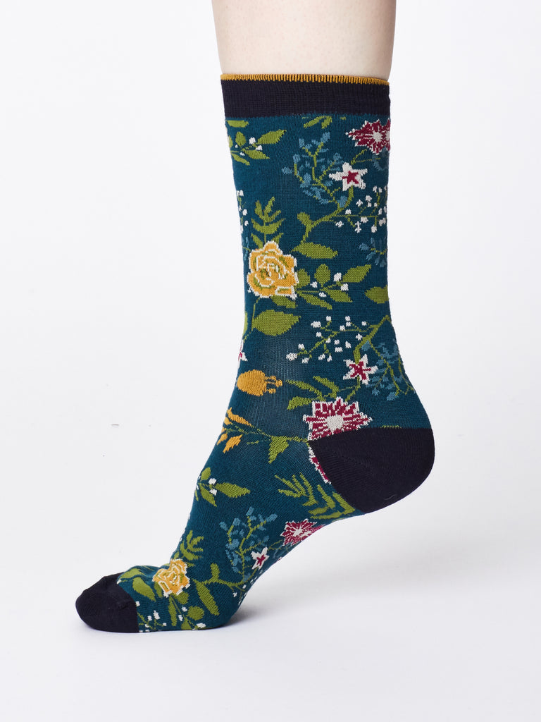 Ladies Bamboo Socks - Teal Blue- Garden Print
