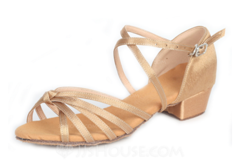 Evie - Ladies' Gold Satin Cuban Heel Dance Shoe