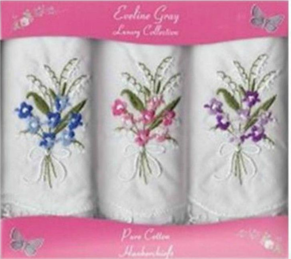 Ladies Cotton Embroidered Handkerchiefs - 3 Pack - Kit'n'Heels