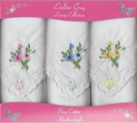 Ladies Cotton Embroidered Handkerchiefs - 3 Pack