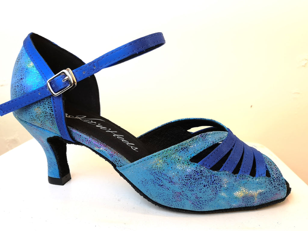 "Sophia - Blue Opal Colour Ladies Latin Dance Shoe with a 2.5"" Heel - Kit'n'Heels"