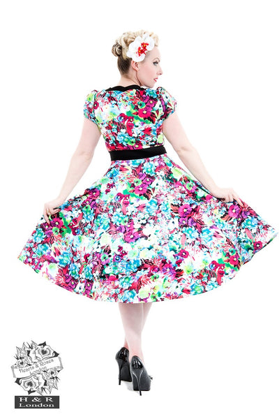 Hearts and Roses Floral Swing Dress with Cap Sleeves and Scalloped Neckline - Kit'n'Heels