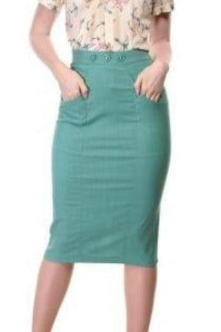 Talis Plain Pencil Skirt - Green