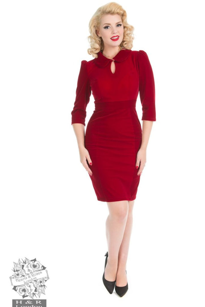 Hearts and Roses Velvet Wiggle Dress in Red
