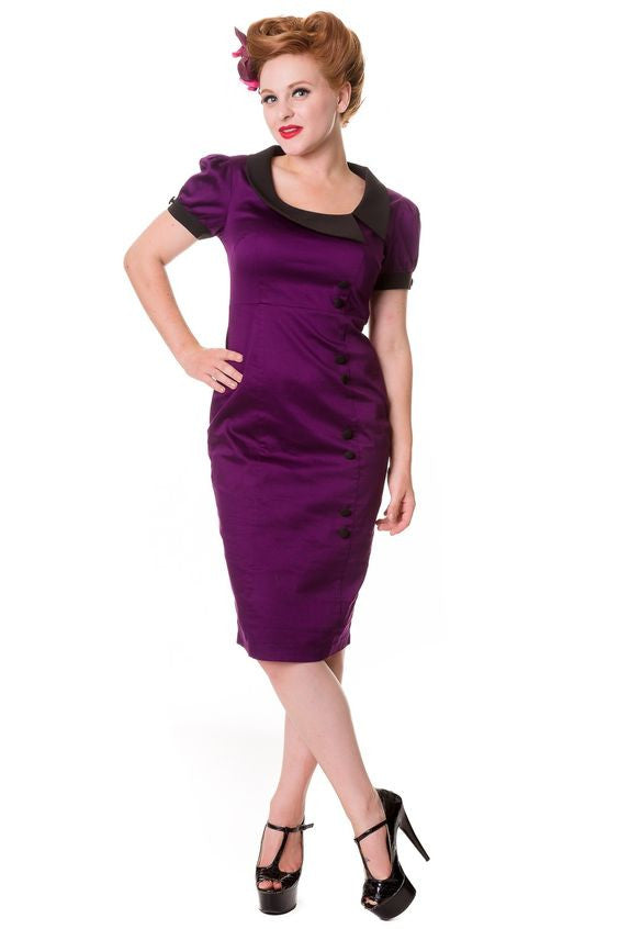 Banned Apparel Purple Vintage Pencil Dress - 1940's/1950's inspired style - Kit'n'Heels