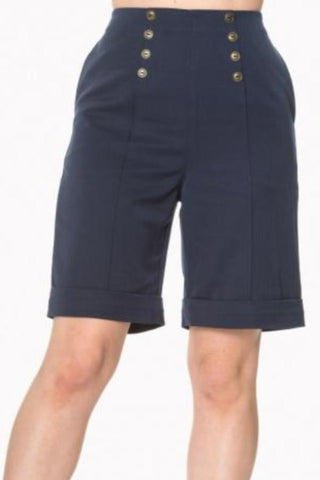 Banned Apparel Weekender Navy Knee Length Shorts