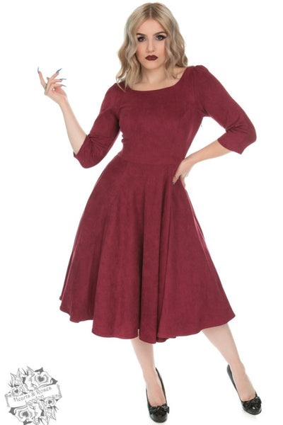 Hearts & Roses Wendy Faux Suede Swing Dress in Wine - Kit'n'Heels