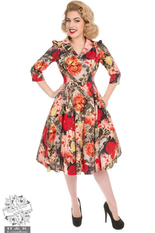 Hearts & Roses Wild Roses Tea Dress with Sleeves