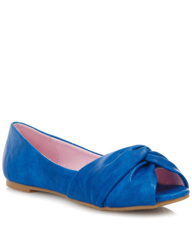 Allyn Flats Blue Leatherette Ladies Fashion Shoe