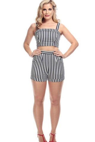 Collectif Ayana Navy & White Striped Shorts